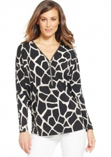 Alfani Animal-Print Half-Zip Blouse