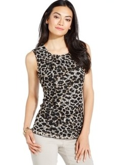 Alfani Animal-Print Lace Shell