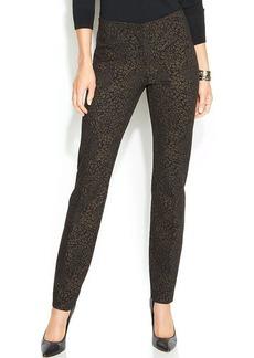 Alfani Animal-Print Skinny-Leg Ponte Pants