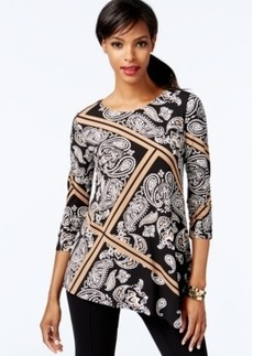 Alfani Asymmetrical-Hem Printed Top, Only at Macy's