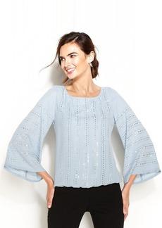 Alfani Bell-Sleeve Embellished Blouson Top