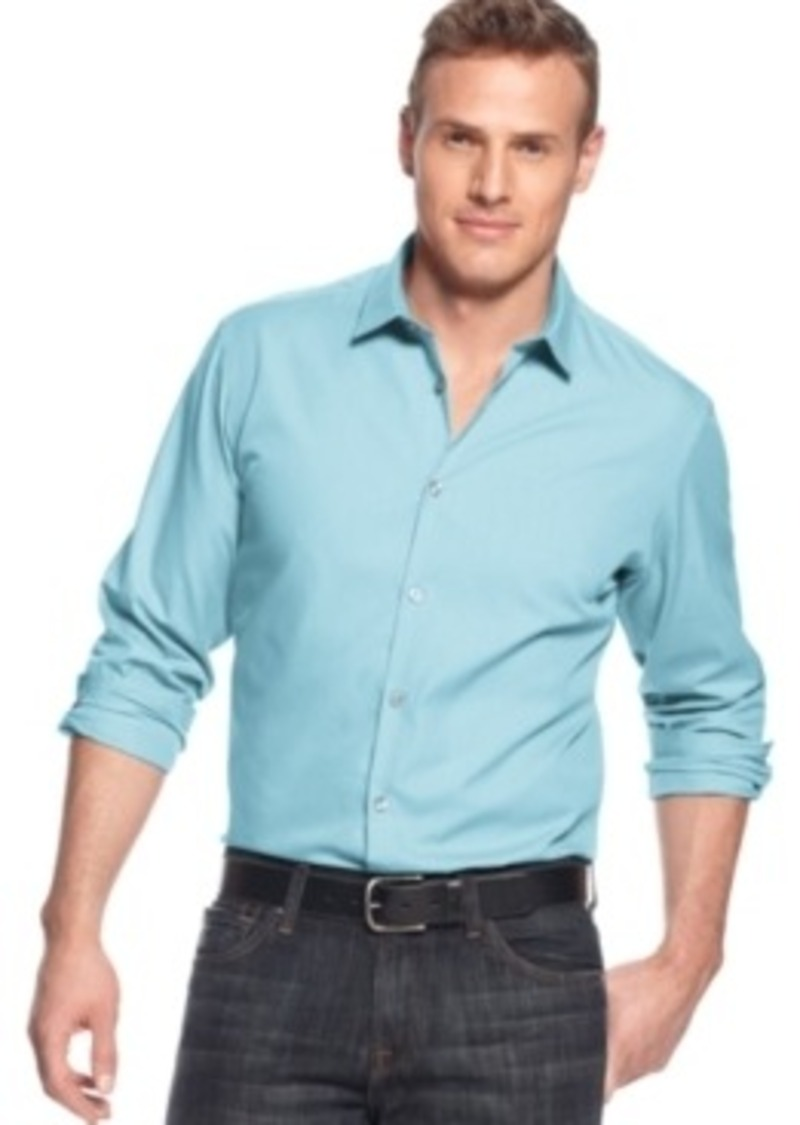 Alfani alfani big and tall long sleeve hinkley stretch for Big and tall casual shirts