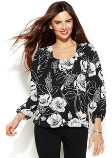 Alfani Butterfly-Sleeve Printed Top