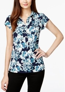 Alfani Cap-Sleeve Floral-Print Polo Top, Only at Macy's