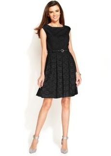 Alfani Cap-Sleeve Lace Belted Dress