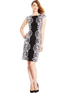 Alfani Cap-Sleeve Lace-Print Sheath Dress, Only at Macy's