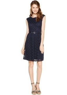 Alfani Cap-Sleeve Mesh-Dot Belted Dress