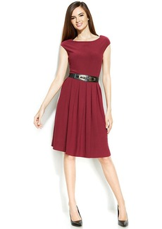 Alfani Cap-Sleeve Pleated Belted Dress