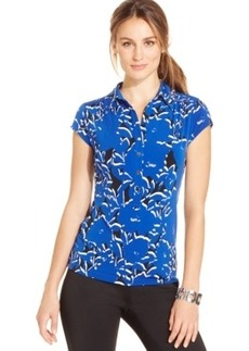 Alfani Cap-Sleeve Printed Polo Top, Only at Macy's