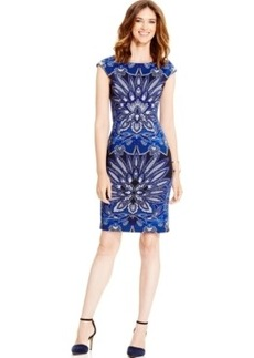Alfani Cap-Sleeve Printed Sheath Dress, Only at Macy's