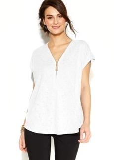 Alfani Cap-Sleeve Zip-Front Top