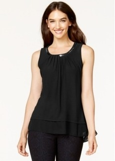 Alfani Chain-Trim Colorblocked Top, Only at Macy's