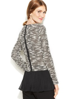 Alfani Chiffon-Back Marled Sweater