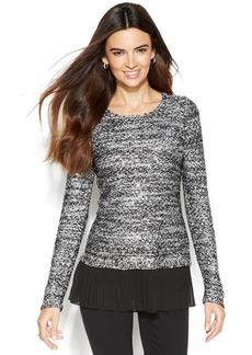 Alfani Chiffon-Hem Marled Sequin Sweater