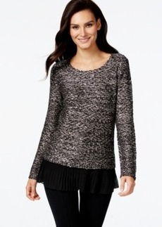 Alfani Chiffon-Hem Sequin Knit Sweater, Only at Macy's