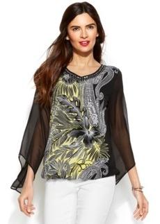 Alfani Chiffon-Sleeve Printed Blouson Top