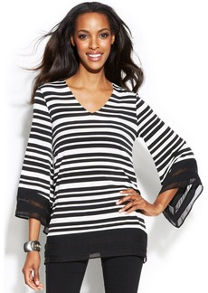 Alfani Chiffon-Trim Striped Tunic