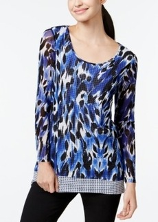 Alfani Combo-Print Mesh Layered Top, Only at Macy's