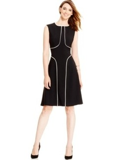 Alfani Contrast-Trim Flare Dress, Only at Macy's