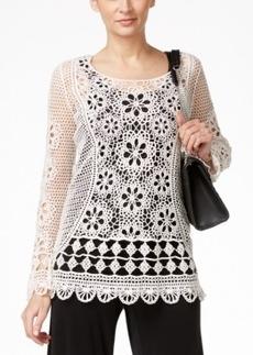 Alfani Prima Crochet Lace Popover Top, Only at Macy's