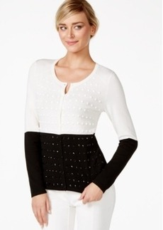 Alfani Crystal-Embellished Colorblocked Cardigan, Only at Macy's