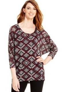 Alfani Dolman-Sleeve Geo-Print Top, Only at Macy's