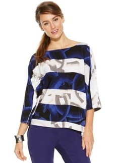 Alfani Dolman-Sleeve Mixed-Print Top