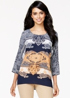 Alfani Dolman-Sleeve Paisley-Print Top, Only at Macy's