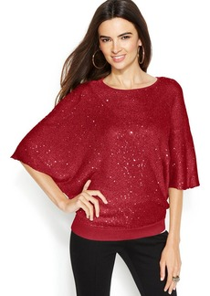 Alfani Dolman-Sleeve Sequin Sweater