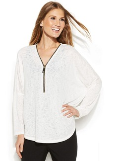 Alfani Dolman-Sleeve Zip-Front Top