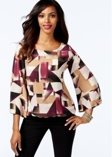 Alfani Embellished Printed Bubble-Hem Top, Only at Macy's