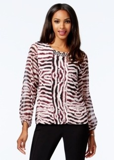 Alfani Embellished Printed Bubble Top, Only at Macy's