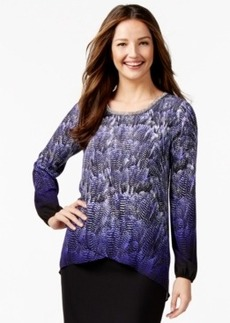 Alfani Embellished Printed Crossover Blouse, Only at Macy's