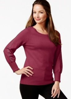 Alfani Embellished-Sleeve Sweater, Only at Macy's