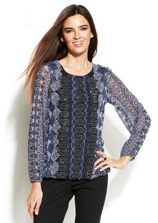 Alfani Embellished Tribal-Print Blouson Top