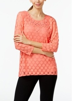 Alfani Petite Embroidered Lace Top, Only at Macy's