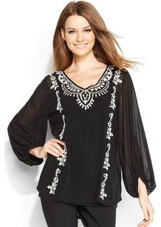 Alfani Embroidered Peasant Top