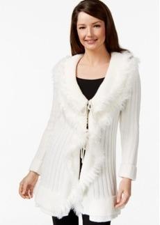 Alfani Faux-Fur Ruffled Cardigan, Only at Macy's