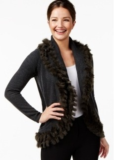 Alfani Faux-Fur-Trim Cardigan Sweater, Only at Macy's