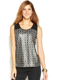 Alfani Faux-Leather Laser-Cutout Top