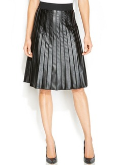 Alfani Faux-Leather Pleated Skirt