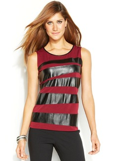 Alfani Faux-Leather Striped Tank Top