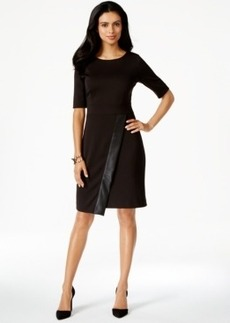 Alfani Faux-Leather-Trim Asymmetrical Sheath Dress
