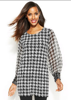 Alfani Petite Faux-Leather-Trim Houndstooth Tunic