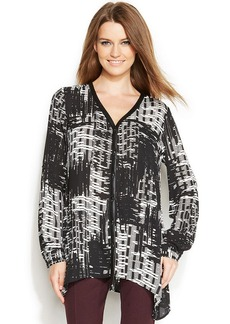 Alfani Petite Faux-Leather-Trim Printed Tunic