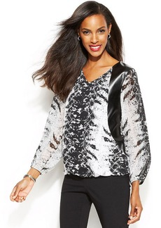 Alfani Faux-Leather-Trim Python-Print Blouse