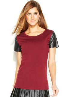 Alfani Petite Faux-Leather-Trim Short-Sleeve Top