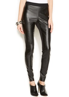 Alfani Faux-Leather Ultra-Skinny Ponte Pants