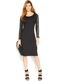 Alfani Faux-Perforated-Leather Sheath Dress