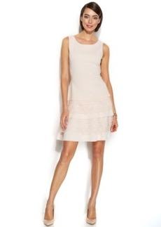 Alfani Fit & Flare Lace-Trim Scuba Dress